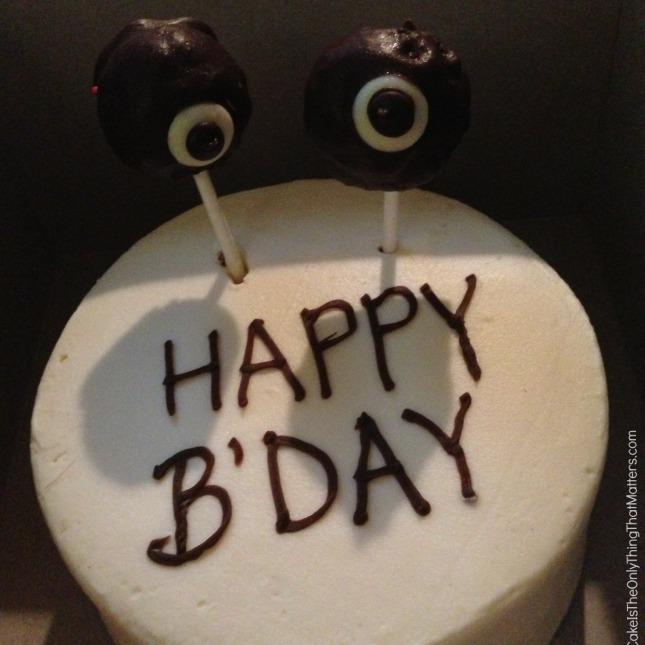 Birthday cake with googly eyes
