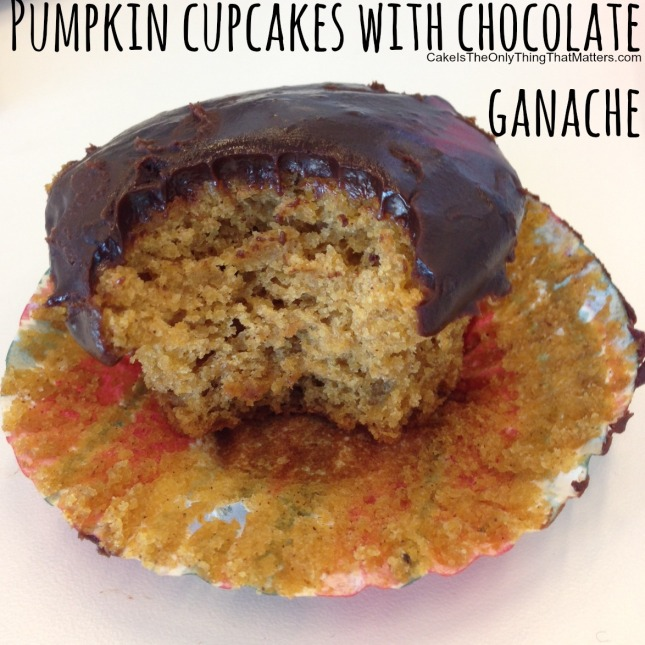 Pumpkin cupcakes with chocolate ganache frosting...SO much better than even cream cheese frosting!
