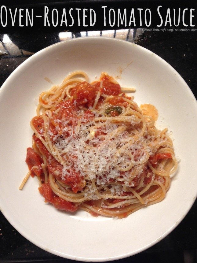 Oven-roasted tomato sauce recipe is SO easy and great for tricking people into thinking you cooked for hours
